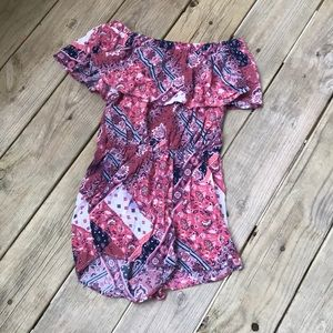 Floral and paisley pink romper